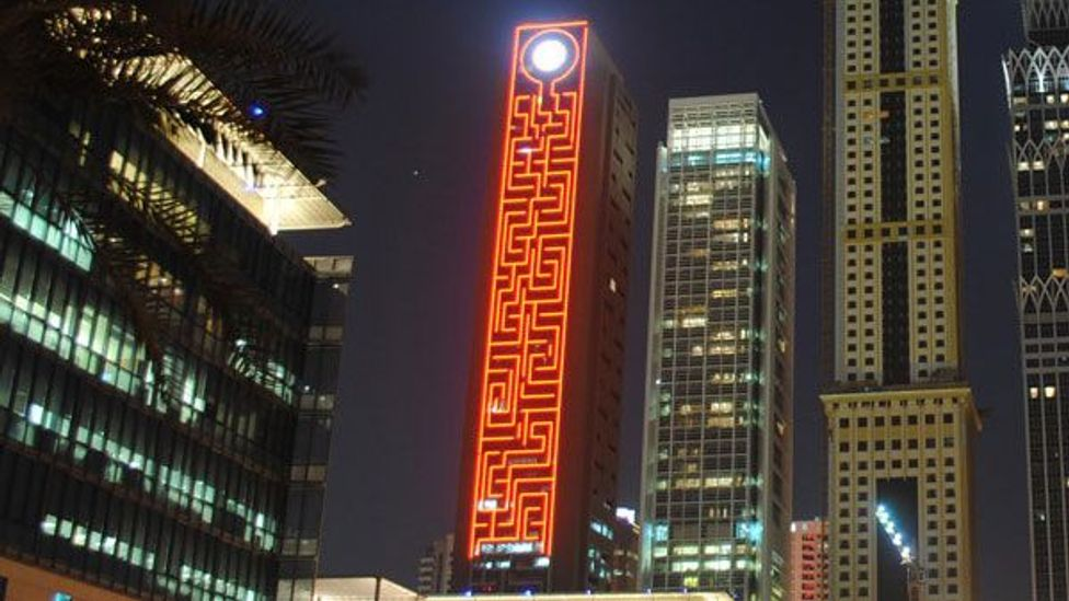 The Maze Tower in Dubai, entered into the 2015 Guinness Book of World Records as the world's tallest vertical maze (Credit: Adrian Fisher/Adrian Fisher Design)