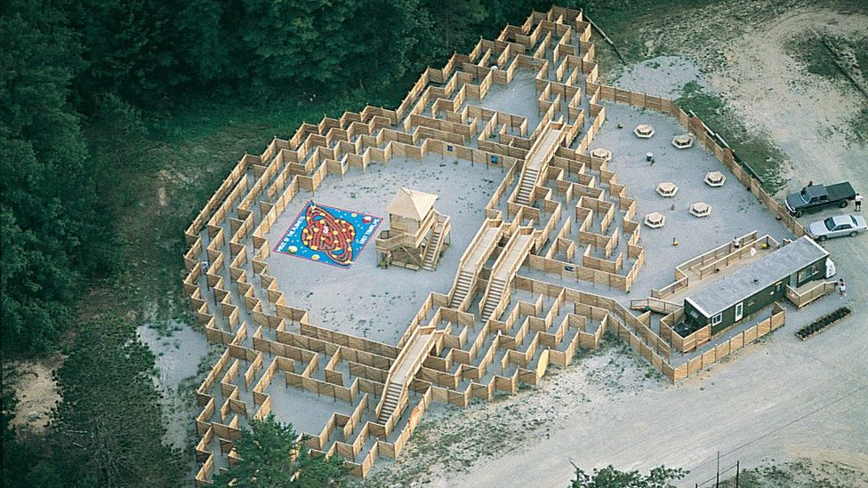 The Maze of the Planets in East Tawas, Michigan, made up of wood panels (Credit: Adrian Fisher/Adrian Fisher Design)
