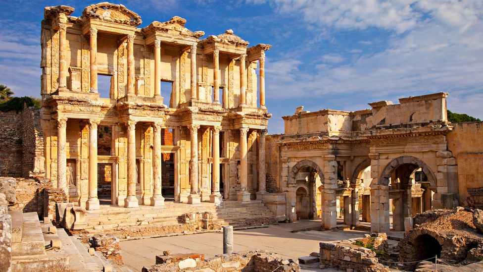 Ruins of the Library of Celsus in ancient city of Ephesus