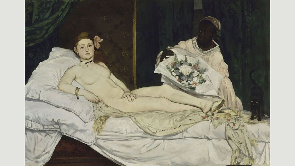 Manet's Olympia scandalised the Paris Salon of 1865 with its blunt and unflinching style (Credit: Édouard Manet)