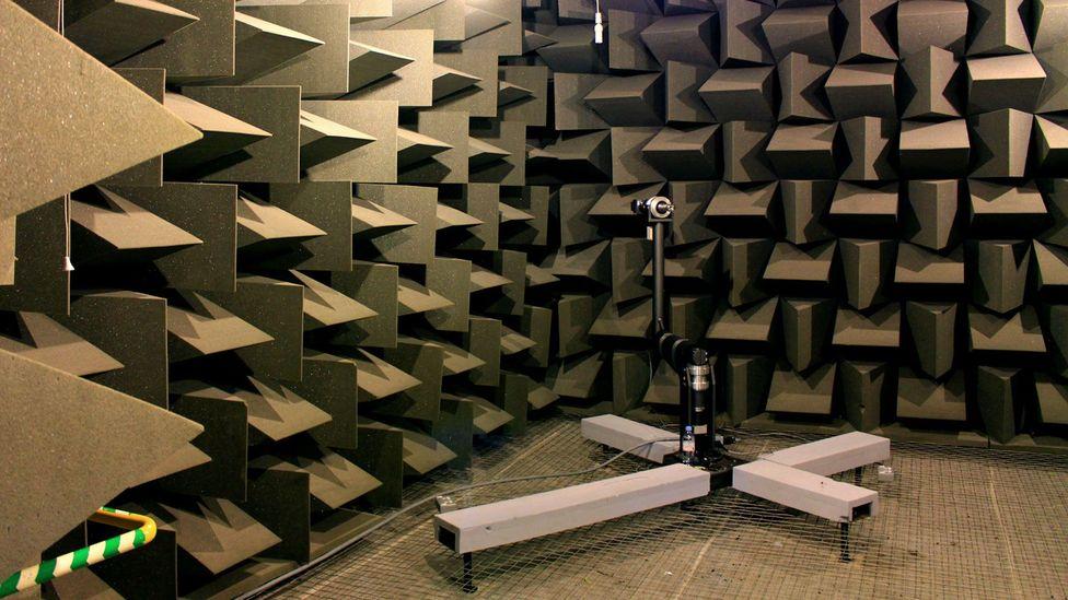 Inside the anechoic chamber at the University of Salford (Credit: Chris Baraniuk)