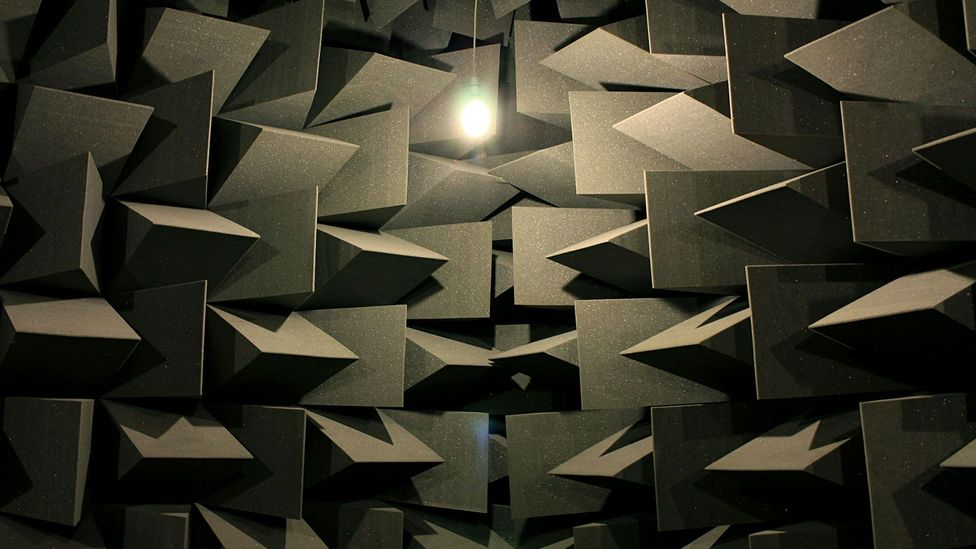 The walls of the anechoic chamber absorb nearly all sound (Credit: Chris Baraniuk)