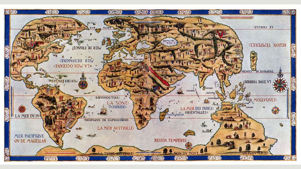 The Dauphin Map of the World is best understood as a beautiful work of art rather than a faithful reflection of the terrain (Credit: Ivy Close Images / Alamy)