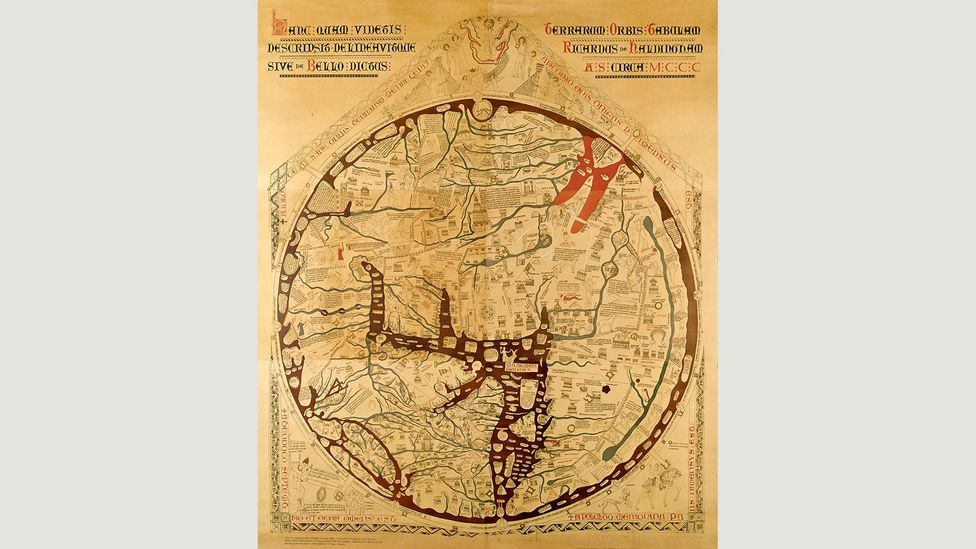 Medieval world maps like the mappa mundi from Hereford Cathedral placed Jerusalem at the centre of the design (Credit: Hereford Cathedral/Corbis)