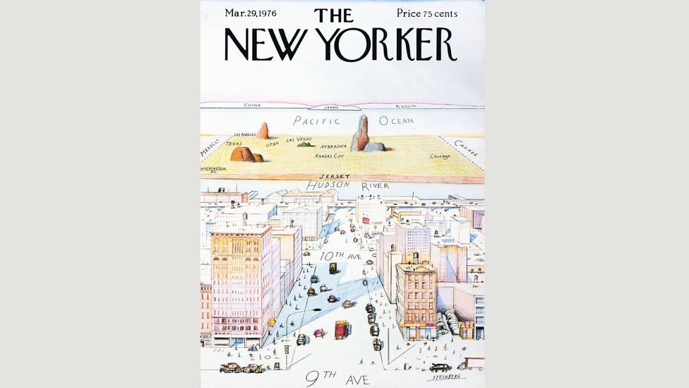 The View of The World from 9th Avenue by Saul Steinberg is a 'map' that gives absurd prominence to Manhattan (Credit: Saul Steinberg/New Yorker)