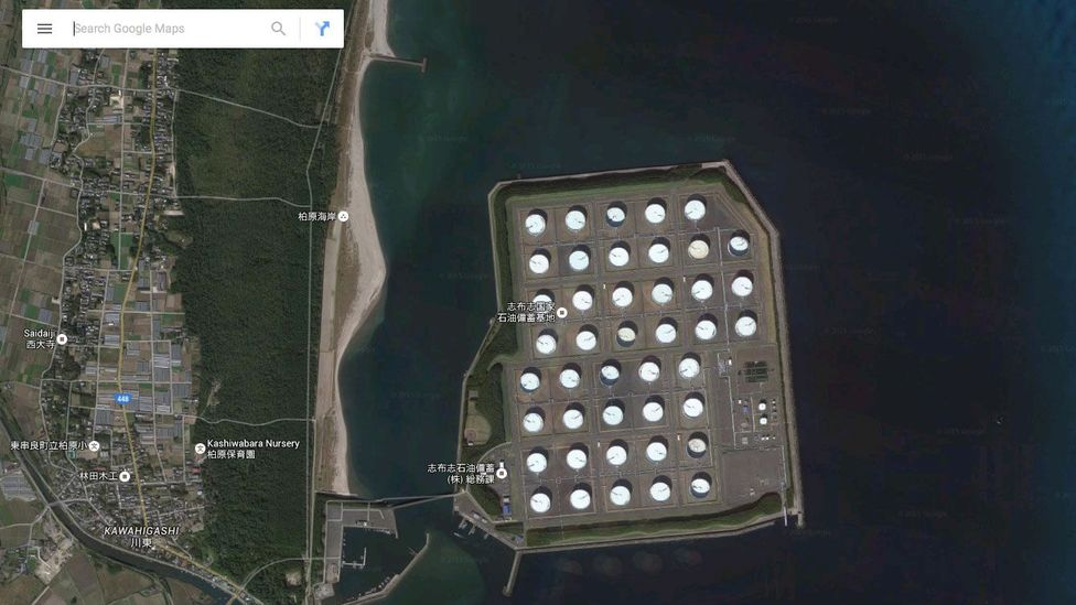 The tanks at Shibushi in Japan, which some fear are vulnerable to earthquakes (Credit: Google)