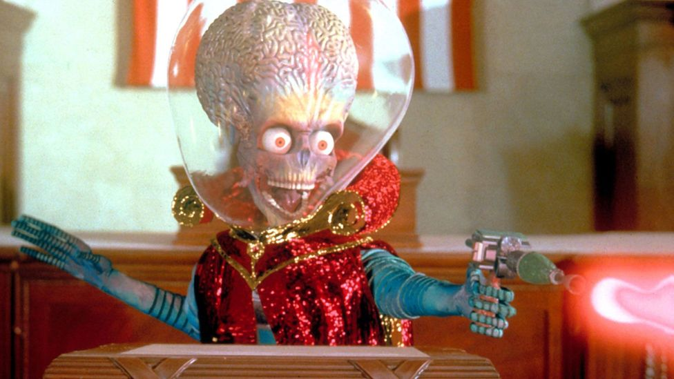 Films such as Mars Attacks! present a pessimistic vision of sadistic diminuative aliens (Credit: Moviestore collection Ltd / Alamy Stock Photo)