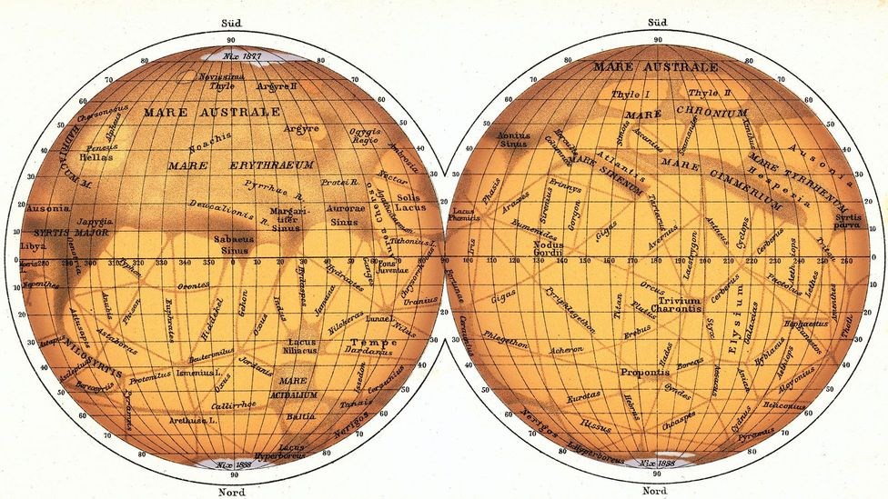 Giovanni Schiaparelli's map was published in 1888 – he described channels on Mars as 'canali' (Credit: Detlev Van Ravenswaay / Science Photo Library)