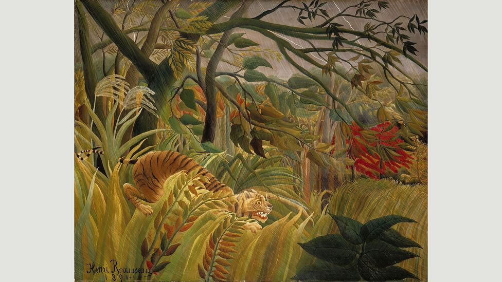 Rousseau's Surprised! or The Lion in a Tropical Storm is the first of the jungle scenes that made the artist famous (Credit: Henri Rousseau)