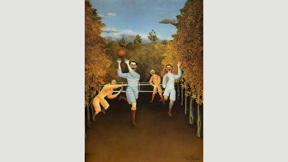 Rousseau's The Football Players from 1908 look awkward and naive, with strangely contorted limbs (Credit: Henri Rousseau)