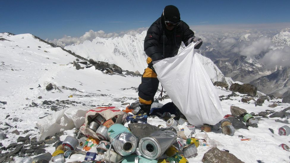 So many people go up Everest now that clean-up teams have to remove their rubbish (Credit: Getty Images)