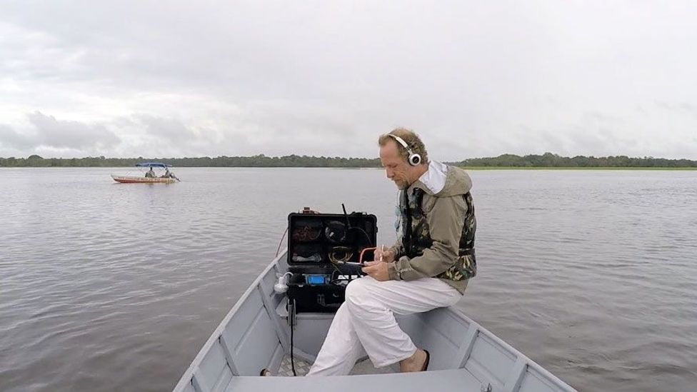 Michel Andre has an elaborate listening apparatus for hearing ocean noise (Credit: Michel Andre)