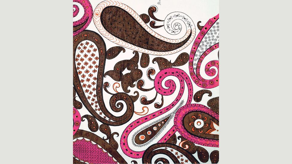 It's been suggested that the seed-like paisley pattern, like this 1960 design by Ceraggio, was originally a Persian fertility symbol (Credit: Copyright of Liberty Fabric Limited)