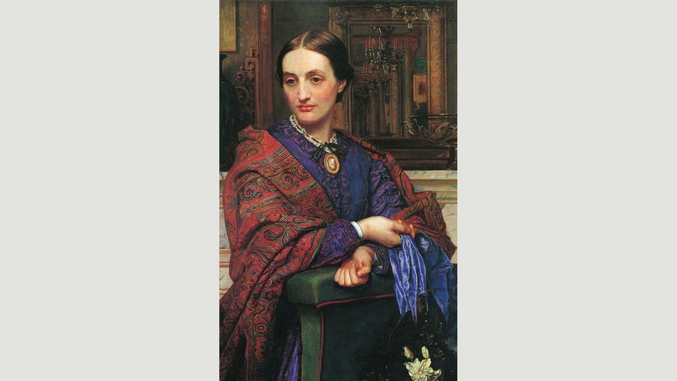 British artists of the late 19th Century were great admirers of the pattern, including William Holman Hunt, who painted his paisley-adorned wife Fanny (Credit: William Holman Hunt)