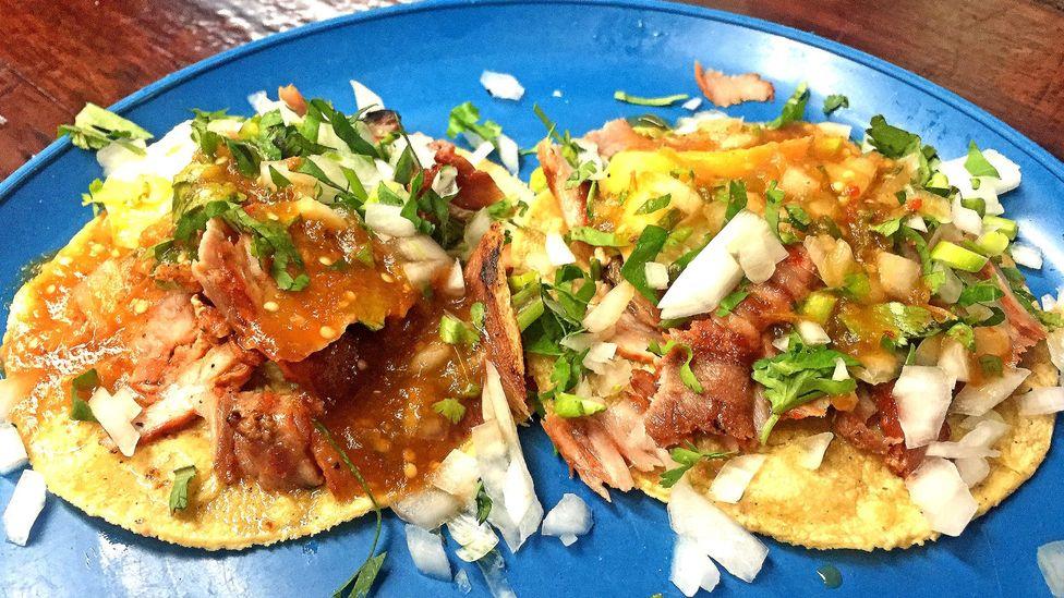 El Vilsito's al pastor tacos with cilantro, onion and pineapple (Credit: David Farley)