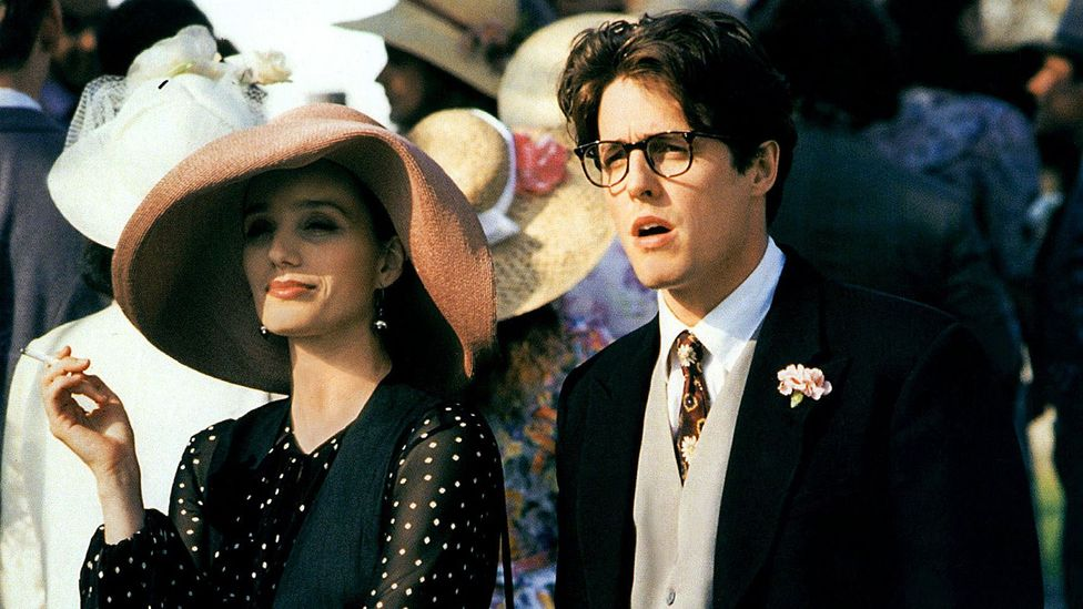 Hugh Grant gets big laughs when, frustrated, he uses a particularly impolite word in the 1994 film Four Weddings and a Funeral (Credit: AF archive/Alamy Stock Photo)