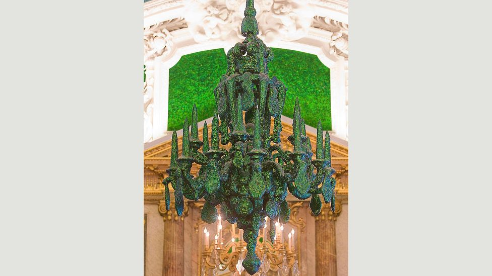The Belgian artist Jan Farbe has encrusted the 19th Century Hall of Mirrors in the royal palace in Brussels with thousands of insects (Credit: Corbis)