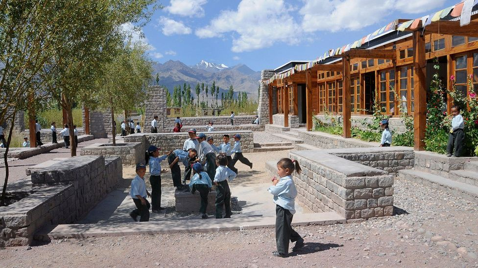 The Druk White Lotus School at Shey in Ladakh, India educates children from mountainous villages in a place of beauty (Credit: ImageBROKER / Alamy Stock Photo)
