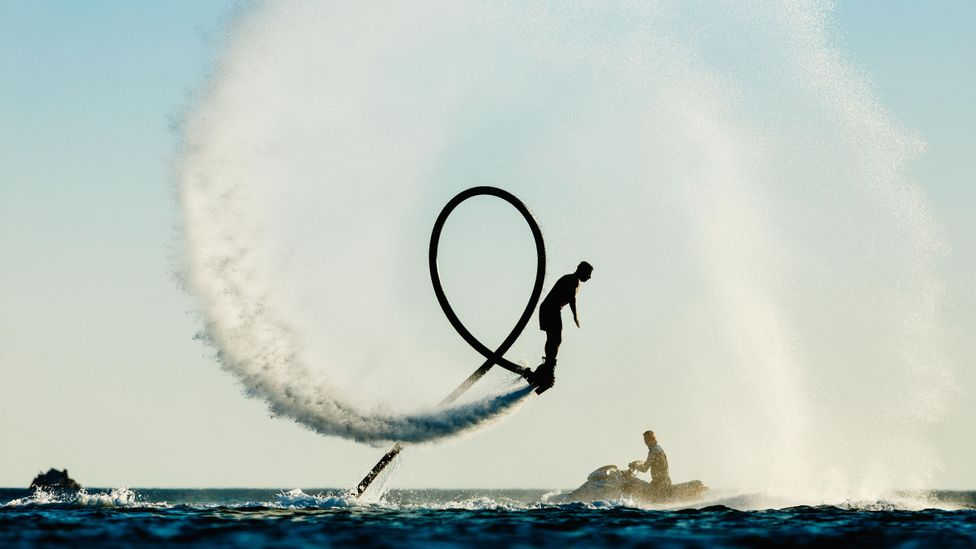 Water-powered flyboards like this one might look like they'd be good in a fire but practically aren't very useful (Credit: Alamy)