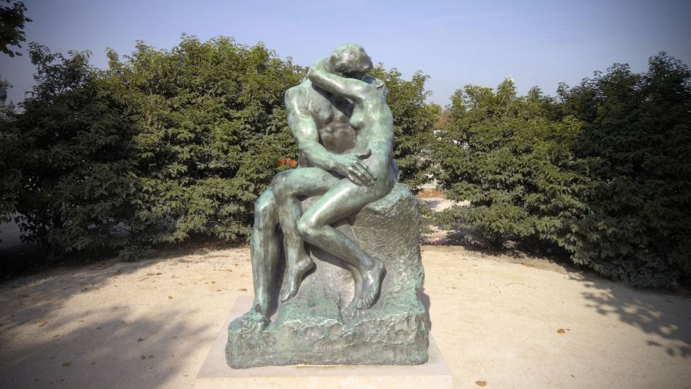 Three over-life-size marble versions of The Kiss were executed in Rodin's lifetime - this bronze cast of the statue is in Paris (Credit: Scott Hortop Travel/Alamy Stock Photo)