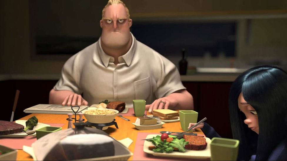 In The Incredibles, Mr Incredible is forced to abandon his crime-fighting exploits and get an office job (Credit: Disney/Pixar)