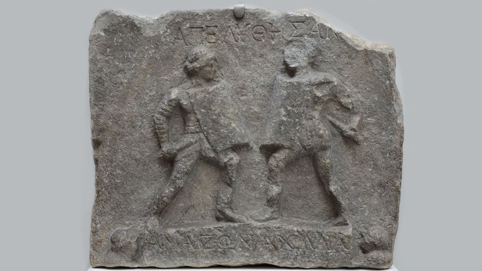 This marble relief dating to the 1st or 2nd Century AD from Turkey, then part of the Roman Empire, shows female gladiators (Credit: Carole Raddato/Flickr/CC BY-SA 2.0)