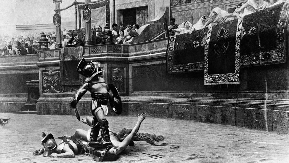 Gladiators would reenact major fights – including sea battles, with the Colosseum flooded – and became major celebrities in Rome (Credit: ClassicStock /Alamy Stock Photo)