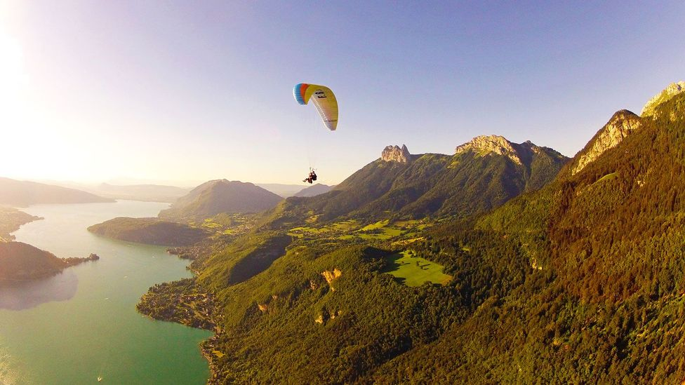 Paragliding in Annecy, France, with views of the French Alps (Credit: Aileen Adalid)