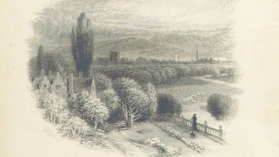 A plate from a first edition of Middlemarch shows an artist's impression of the fictional Midlands town after which the book is named (Credit: WL Taylor/The British Library)