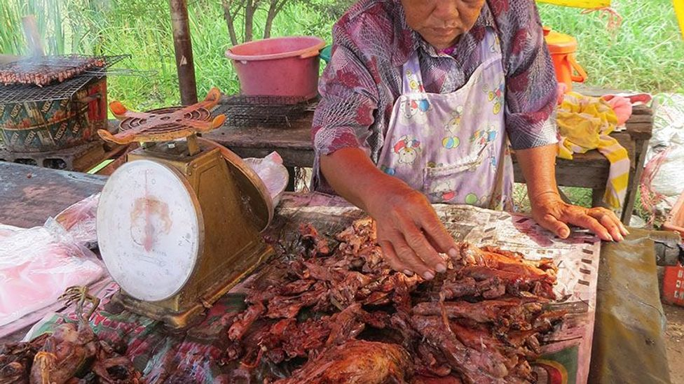 A food vendor sells freshly barbecued field rats alongside a highway just north of Bangkok, Thailand (Credit: Grant Singleton)