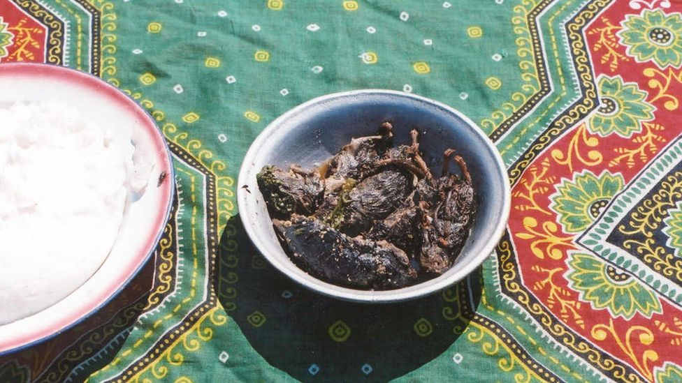 These rats have been roasted whole, lightly tossed in a spicy sauce and eaten in their entirety, served with cassava paste (Credit: Prof S.R. Belmain, University of Greenwich)