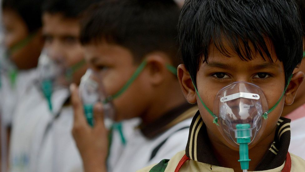 Living in a highly polluted city doubled the chance that a child would grow up obese, according to one study (Credit: Getty Images)