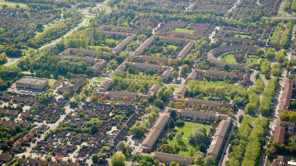 Milton Keynes is the last of Britain's New Towns; it is laid out on a generous grid of avenues (Credit: Paul White - UK Cities/Alamy Stock Photo)