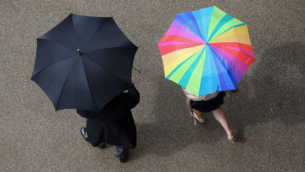 Even if you know it's raining out, British etiquette calls for you to phrase it as a question: 'Raining again?' (Credit: Agencja Fotograficzna Caro/Alamy)