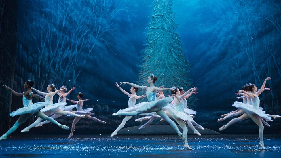 The English National Ballet performs the Waltz of the Snowflakes, one of the most famous scenes from Tchaikovsky's Ballet (Credit: Alamy)