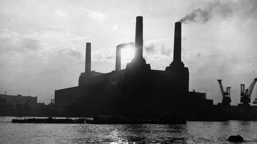 London's Battersea Power Station, shown here in 1954, once consumed more than one million tonnes of coal each year (Credit: Monty Fresco/Topical Press Agency/Getty Images)
