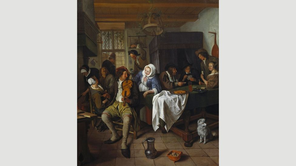 The 17th Century Dutch artist Jan Steen specialised in boozed-up scenes of mayhem, including several interiors of taverns (Credit: Jan Steen)
