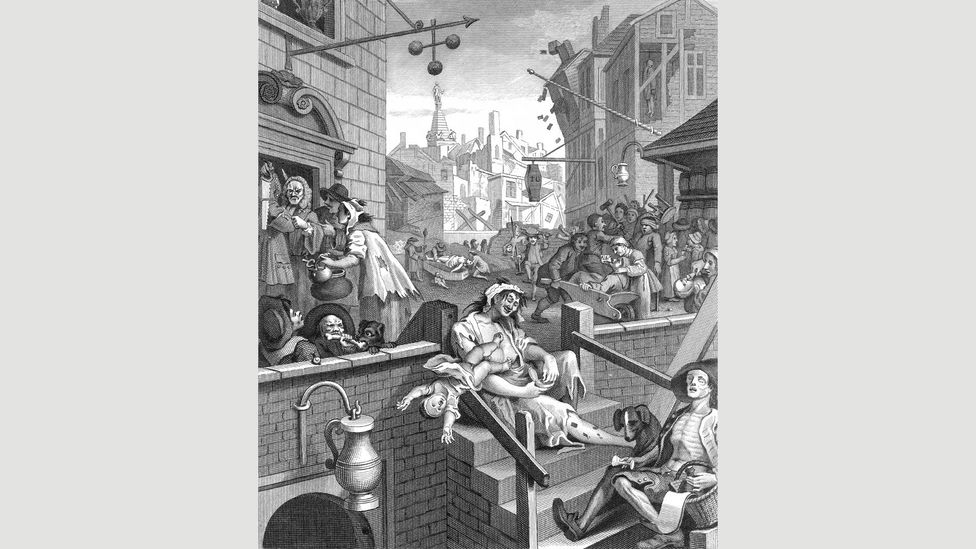 The popularity of cheap Dutch alcohol in 17th-Century London inspired one of British art's most memorable images – Hogarth's Gin Lane (Credit: Alamy)
