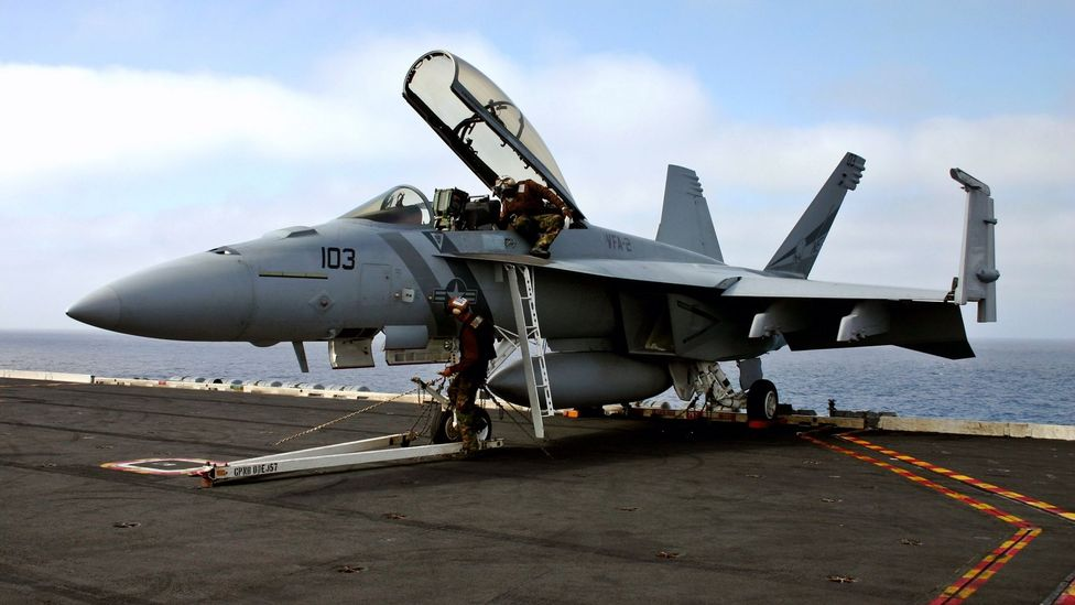 Many aircraft used on carriers have wings that fold up to save space (Credit: Getty Images)