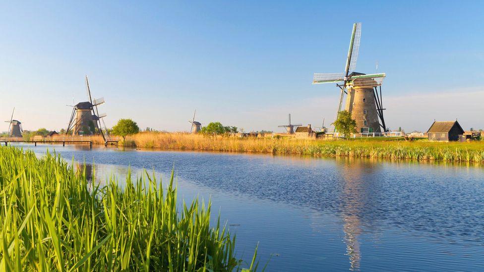 Idyllic windmills dot the landscape at Kinderdijk (Credit: All Canada Photos/Alamy)