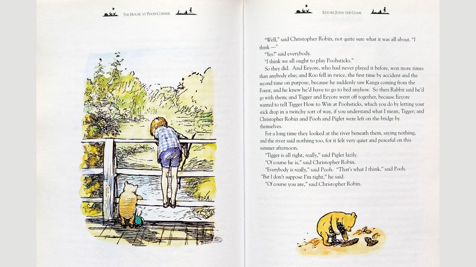 Shepard's illustrations were the exact likenesses of the real-life Christopher Robin, shown here in the 1928 book the House at Pooh Corner (Credit: CBW/Alamy)