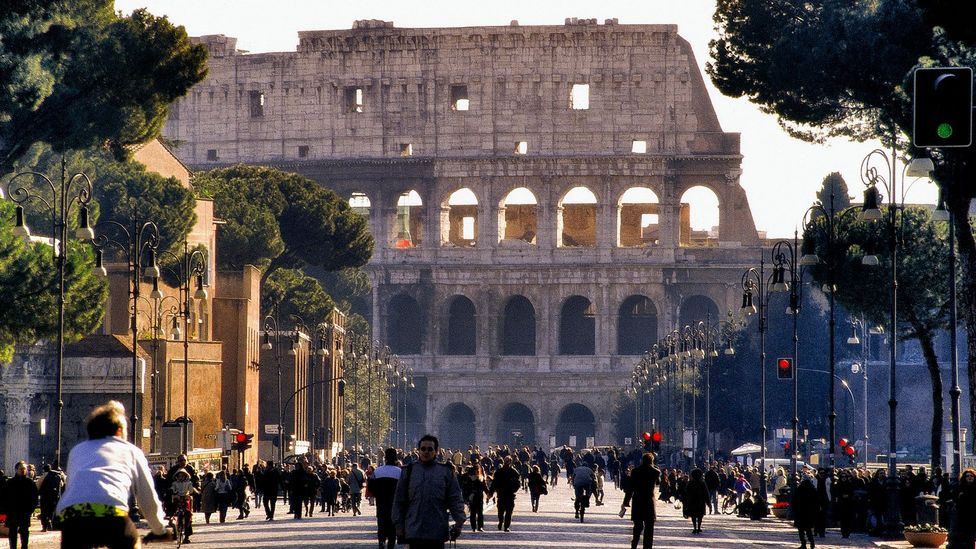 The Colosseum is a spectacular ancient backdrop to Rome's modern-day routine (Credit:Bombaert/Colosseum in Rome, Italy/iStock)