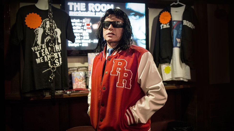Wiseau has built an industry around the 'success' of The Room on the midnight movie circuit, selling tie-in merchandise such as his own line of underwear (Credit: Olivia Howitt)
