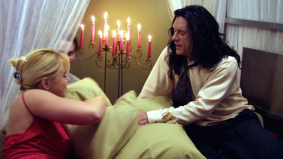 The Room has five extremely long sex scenes – each lasts the length of a pop song – and some of the actors were worried they had signed up for a porn film (Credit: Wisseau Films)