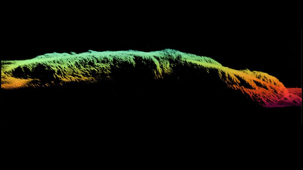 A sonar profile of the SS City of Rio De Janeiro, off the coast of San Francisco. The bow can be seen at the left,  the hull and stern on the right (Credit: Coda Octopus/NOAA)