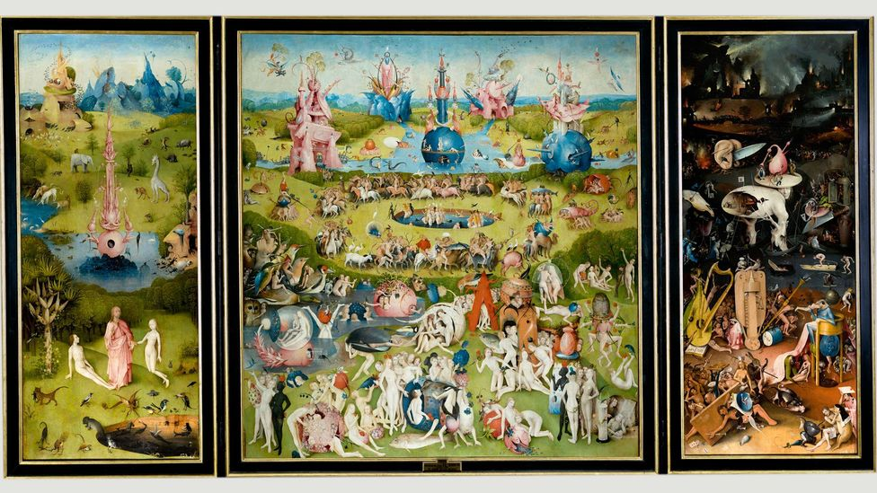 The Garden of Earthly Delights is Bosch's most ambitious work – it features a frenetic hell wing full of monsters (Credit: Hieronymus Bosch/Wikipedia)