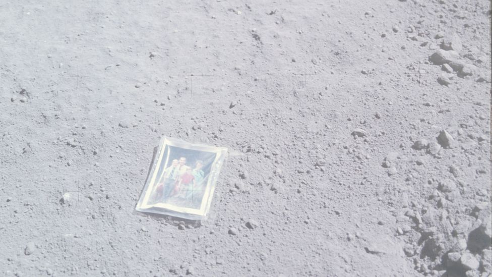 This family portrait deposited by Apollo 16's Charles Duke still lies where it was left, but is probably now completely bleached (Credit: Nasa)