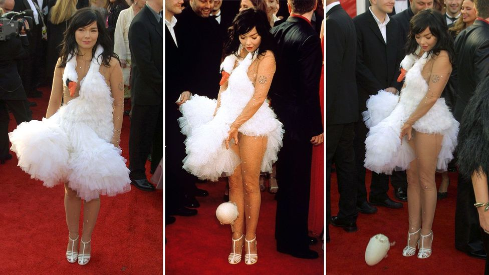 Björk stunned many with her swan dress at the 2001 Oscars, which she later said was a tribute to Busby Berkeley and Esther Williams (Credit: Rex)