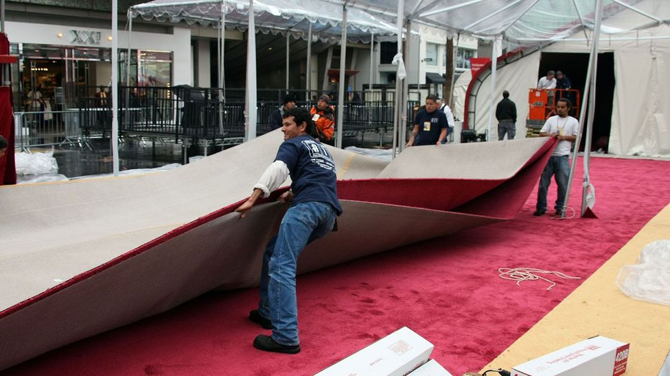 The 16,500 sq ft Oscars red carpet at the Dolby Theatre in Los Angeles takes two full days to install (Credit: Alamy)