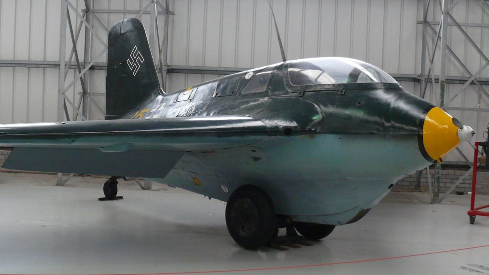 Brown also performed a test-flight in the only rocket-powered war plane to enter service - the Messerschmitt Me 163 Komet (Credit: Ad Meskens/Wikipedia/CC BY-SA 3.0)